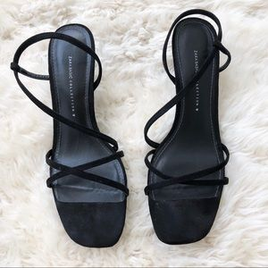 Zara Black Suede Strappy Heel Sandal